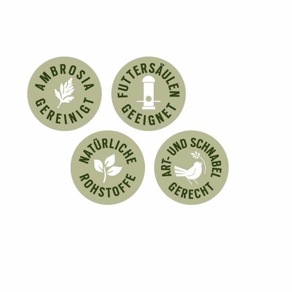 Ambrosia gereinigt, Futtersäulen geeignet, natürliche Rohstoffe, Art- und schnabelgerecht