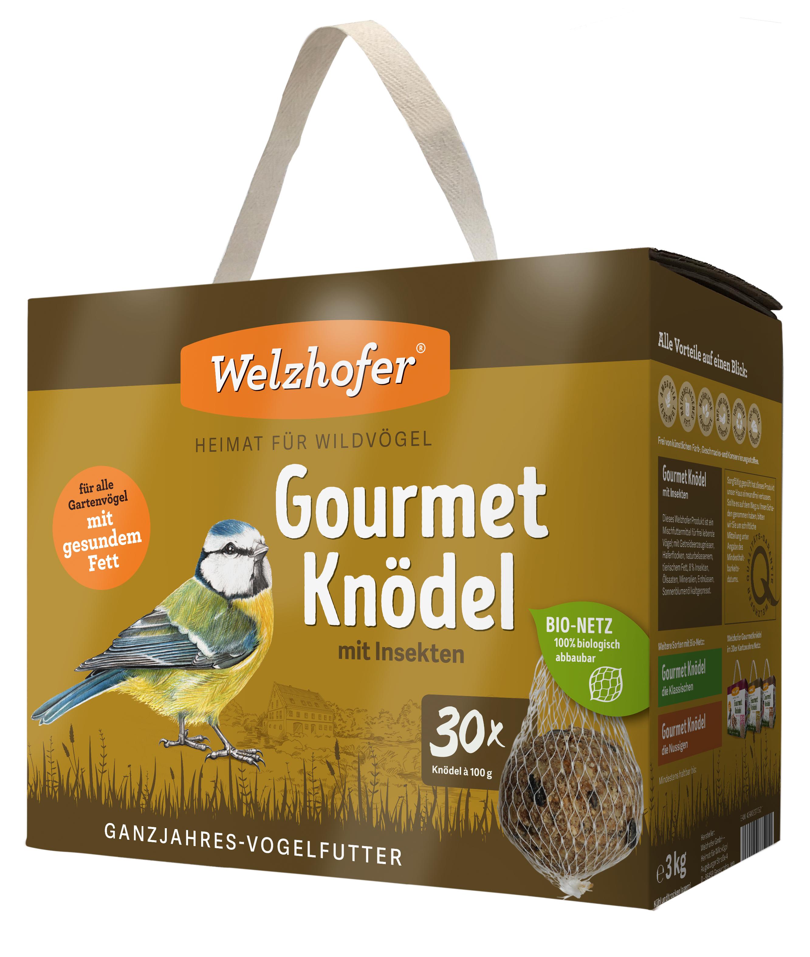 """Gourmetknödel """"mit Insekten"""" im Bio-Netz 30 x 100g"""
